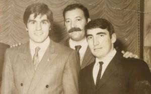 Castelnuovo Rangone 1970 - Nino Benvenuti in compagnia di Sante Bortolamasi e dell' arbitro modenese di pugilato Ramacciotti.